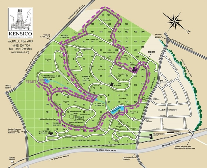 Kensico Map with Purple Lines and Arrows and Finish